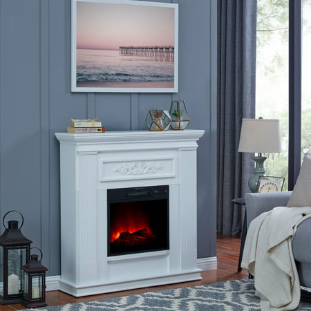Bold Flame 38 inch Wall/Corner Electric Fireplace in White White Gas Fireplace