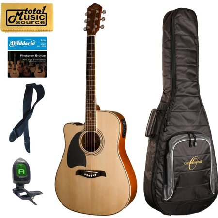 Oscar Schmidt LEFT HAND A/E Guitar, Natural, Gigbag Bundle OG2CELH