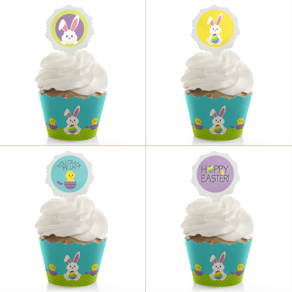 Hippity Hoppity - Cupcake Wrapper & Pick Easter Kit - Set of 24