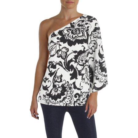 Lauren Ralph Lauren Womens Printed One Shoulder Blouse