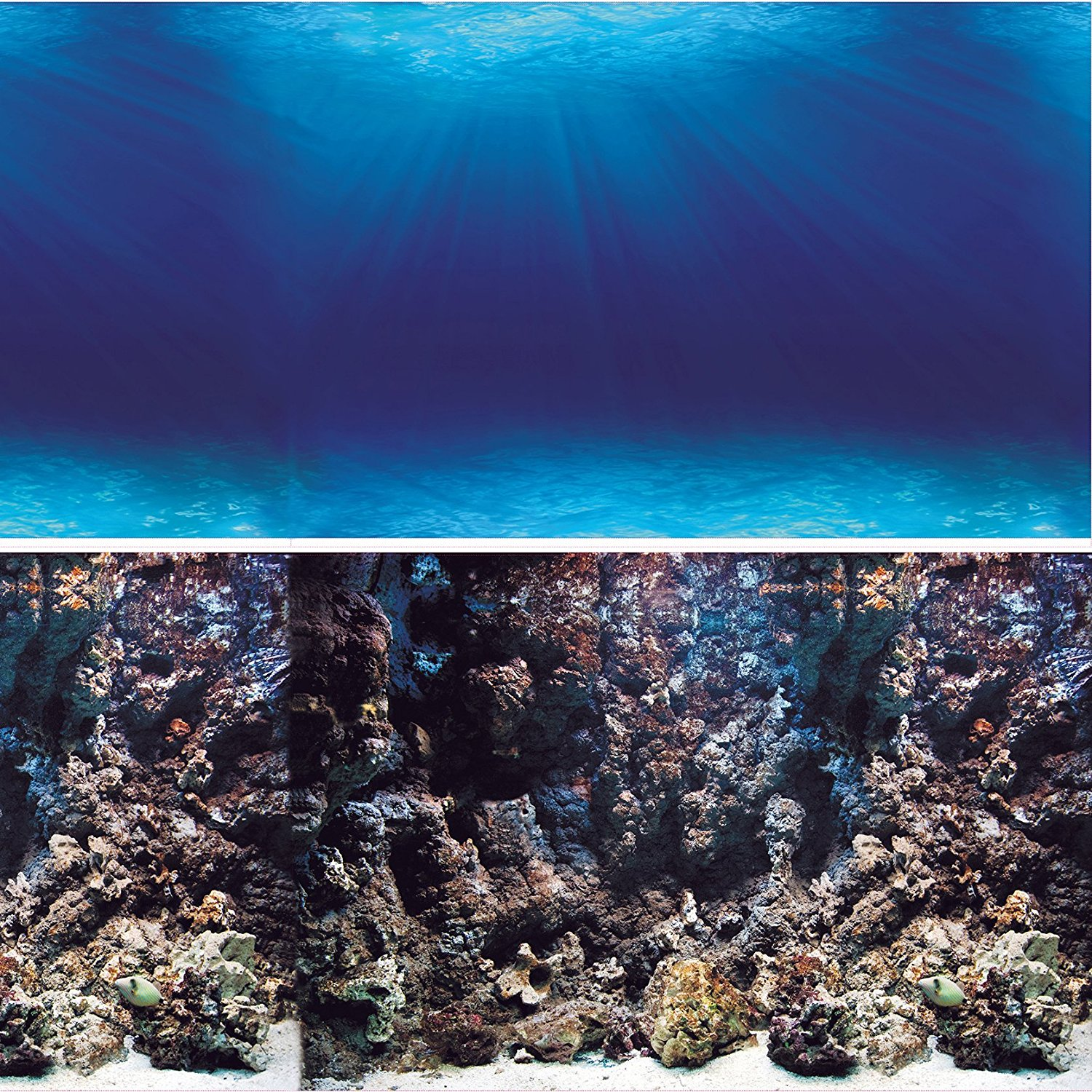 Aquarium Background Deep Seabed Coral Rock Double sides (Deep Seabed Coral Rock, 48WX24H), Double sided- One... by