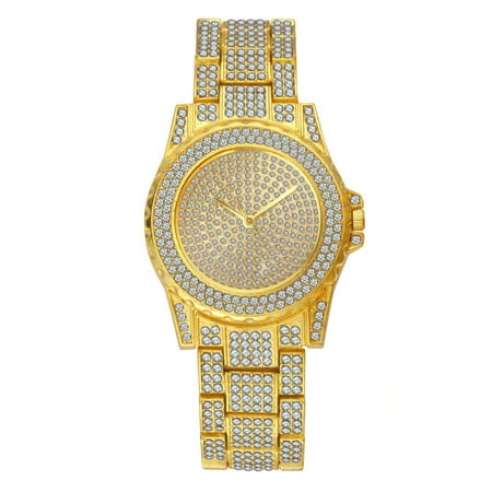 Scattered Diamond Watch - TekDeals Luxury Mens 14k Gold Tone Iced out Simulated Lab Diamond Hip Hop Rapper Watch
