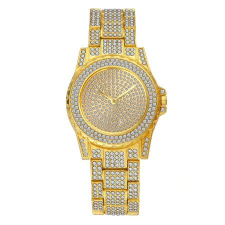 - TekDeals Luxury Mens 14k Gold Tone Iced out Simulated Lab Diamond Hip Hop Rapper Watch