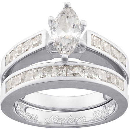 Personalized Marquise Cz Two Piece 5 Carat Tgw Engraved Wedding Ring Set In Sterling Silver