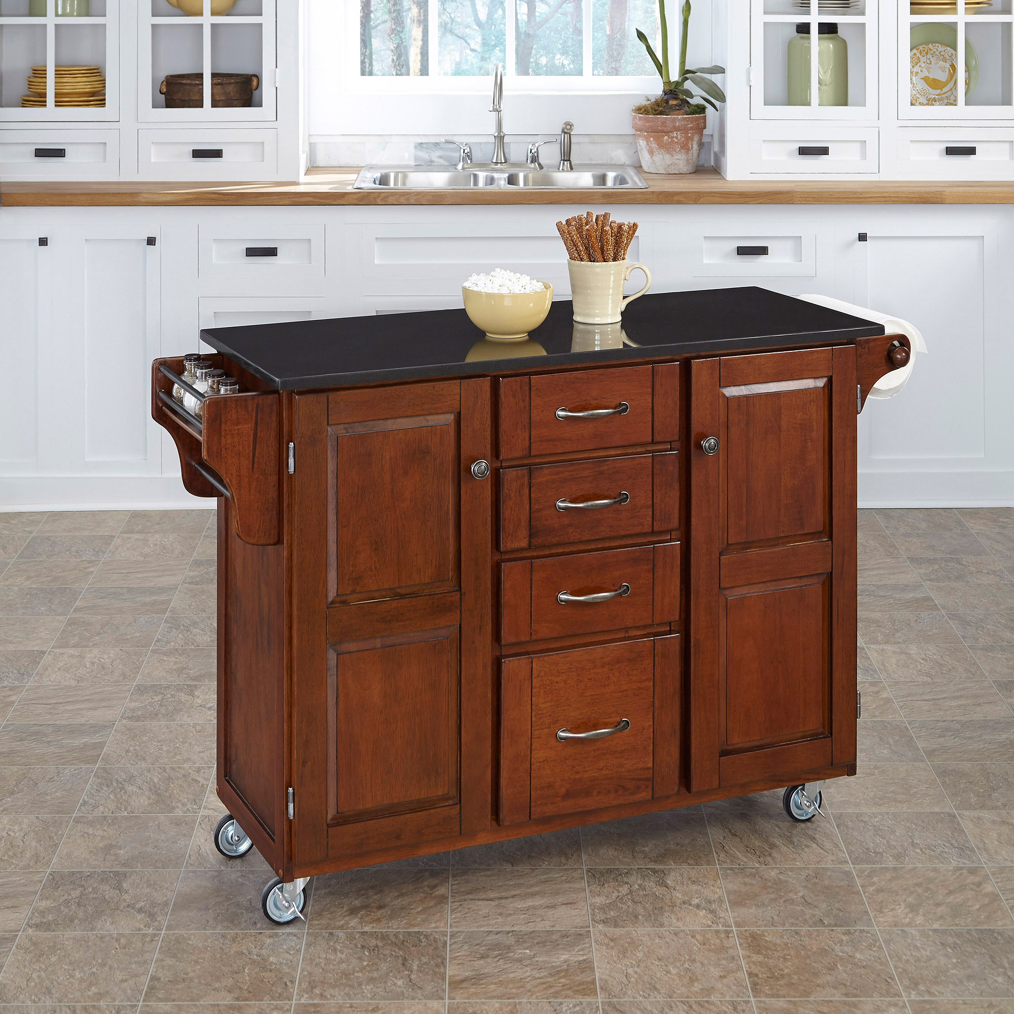 Home Styles Create-a-Cart, Cherry/Black with Granite Top