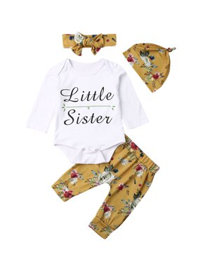 Baby Girls Cotton Clothes Set Autumn Winter Warm Infant Baby Girl Letter Printed Romper+Flower Printed Pants +Headband+Hat Sets