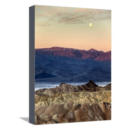 USA, California, Death Valley National Park. Moonset at Sunrise from Zabriskie Point Stretched Canvas Print Wall Art By Ann Collins ()