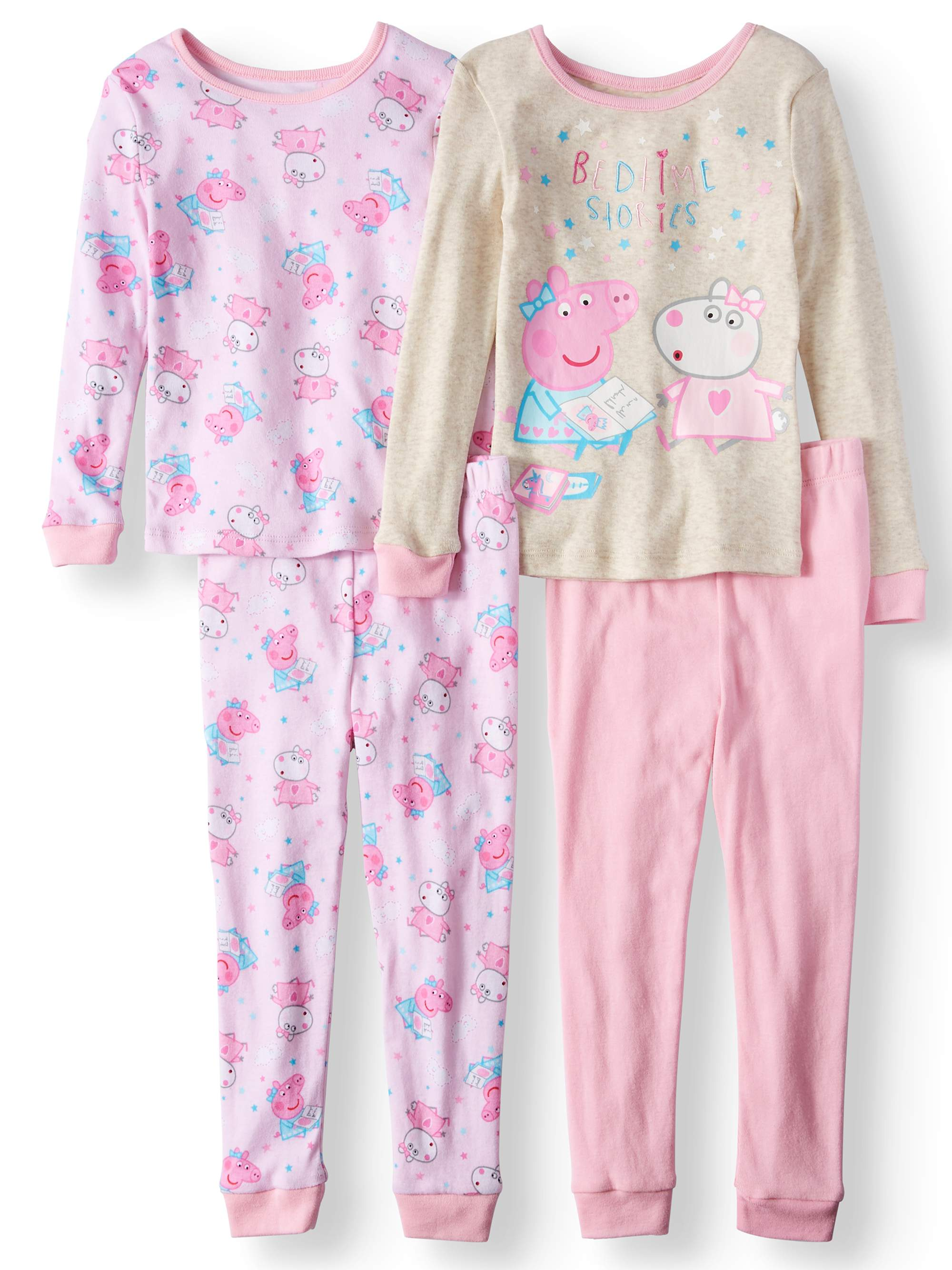 """Bedtime Stories"" Long Sleeve Top & Pants Pajamas, 4pc Set (Toddler Girls)"