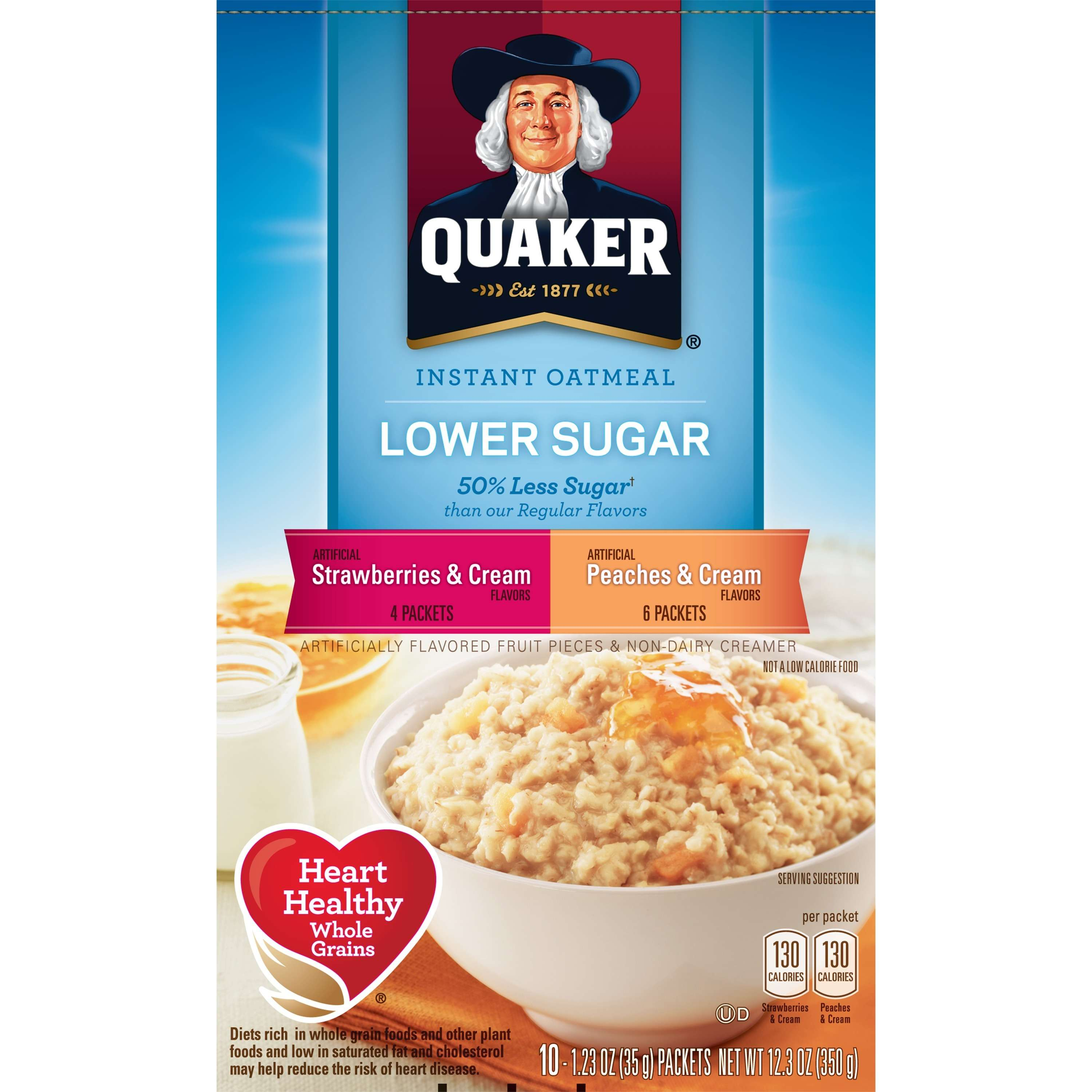 Quaker Instant Oatmeal, Low Sugar Fruit & Cream, Variety Pack, 1.23 Oz, 10 Ct