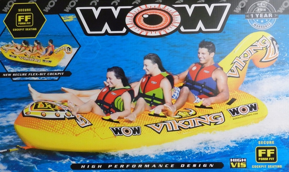 World of Watersport WOW 3-Person Inflatable Towable Viking Boat Tube by WOW