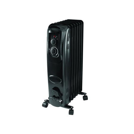 C70 Heater (Mainstays, Oil Filled, Electric Radiant Space Heater, Black, #HO-0270B)
