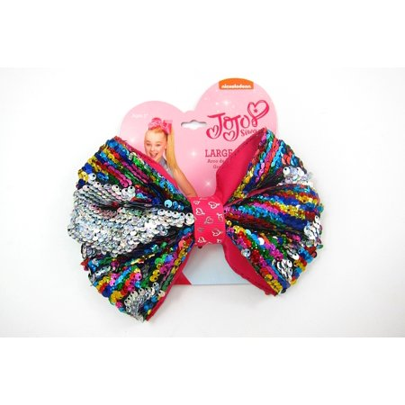 Jojo Siwa Rainbow Hair Bow Reversible Sequins/Elastic - Ponytail Bow