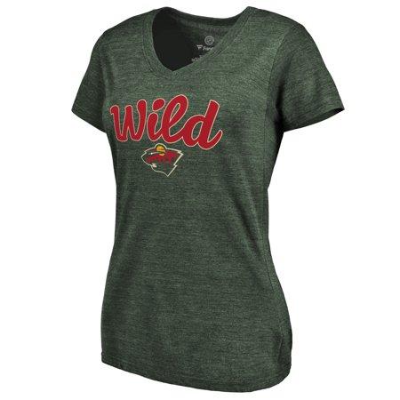 Minnesota Wild Women s Free Hand Tri-Blend V-Neck T-Shirt - Green -  Walmart.com 19494a11be