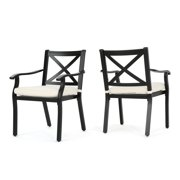 Eowyn Outdoor Cast Aluminum Dining Chairs with Ivory Water Resistant Cushions, Set of 2, Black