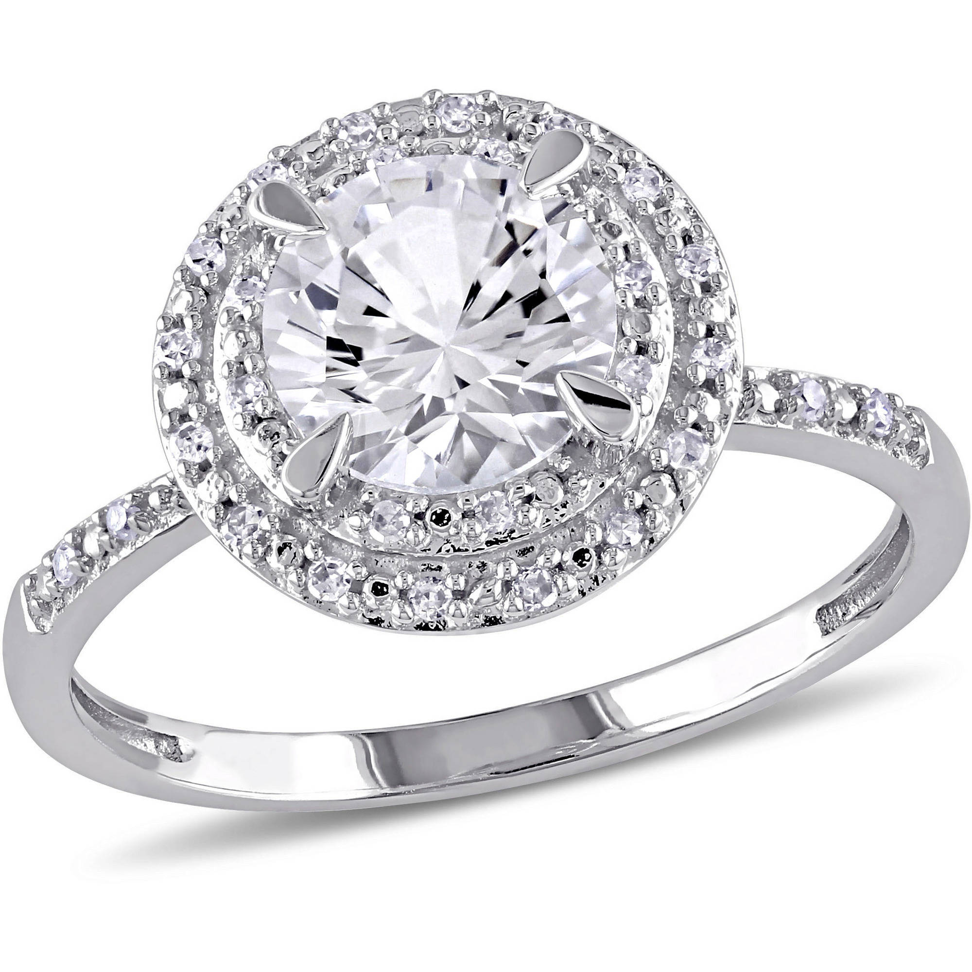 Miabella 1-5/8 Carat T.G.W. Created White Sapphire and 1/10 T.W. Diamond 10kt White Gold Halo Engagement Ring