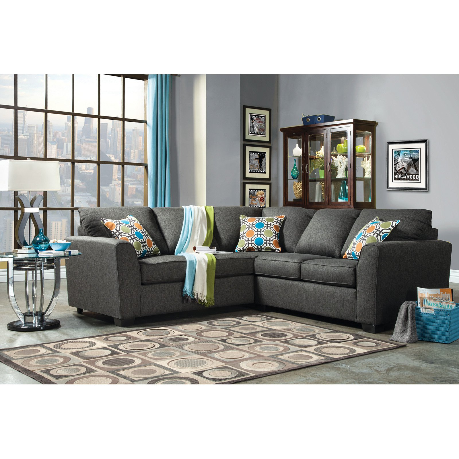 Furniture of America Parker 2 Piece Fabric Sectional Sofa Gray