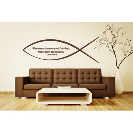 Citizen Sticker (Whatever Makes Men Good Christians Makes Them Good Citizens Wall Decal - wall sticker, mural vinyl art home decor, Christian quotes and sayings - W5158 - White, 16n x 6in )