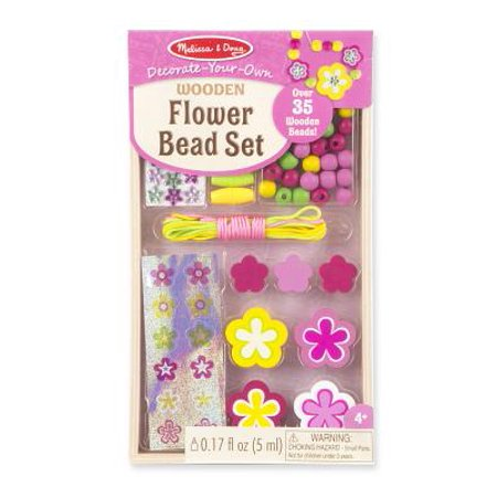 Melissa & Doug Decorate-Your-Own Wooden Flower Bead Jewelry-Making Craft Kit (Wooden Toy Making)