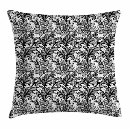 Black And White Decorative Design (Leaf Throw Pillow Cushion Cover, Lace Style Graphic Ornament in Black and White Vintage Style Design with Gothic Look, Decorative Square Accent Pillow Case, 16 X 16 Inches, Black White, by Ambesonne)