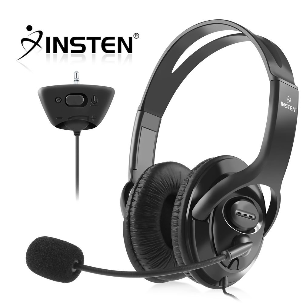 Xbox 360 Headset with Mic Xbox 360 Headphone by Insten Gaming Headset  Headphone with Microphone For MicroSoft xBox 360 Black (Live Chat Mic)