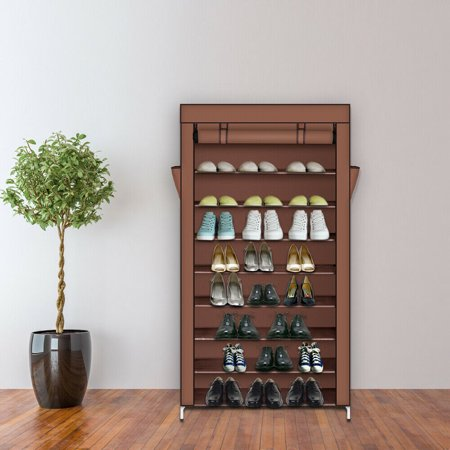 10-Tier Easy Assembly Space Saver Shoe Rack Storage Cabinet Tower Organizer w/Stackable Shelves, Metal Frame, Woven Fabric Cover and Side Pocket ()