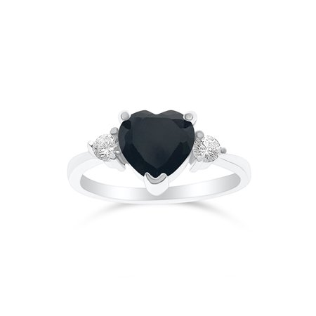 Silver Black Heart Ring - DTLA Sterling Silver Cubic Zirconia Heart Promise Ring For Her - Black (10)
