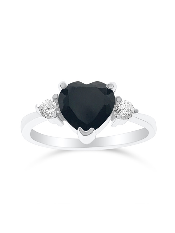 DTLA Sterling Silver Cubic Zirconia Heart Promise Ring For Her - Black (10)