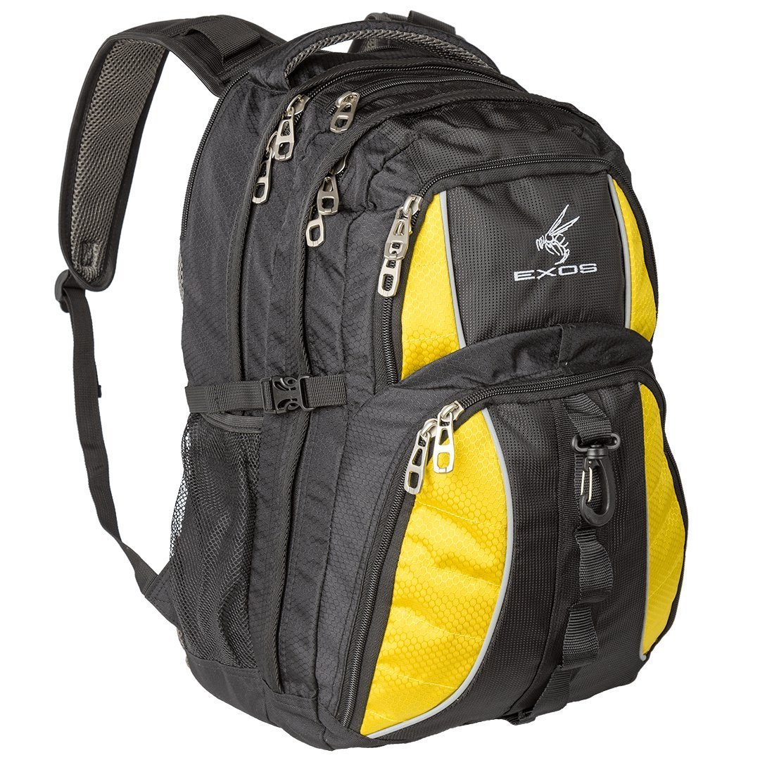 Backpack, (laptop, travel, school or business) Urban Commuter by EXOS (Black/Yellow)