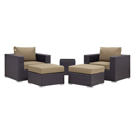 Modway Convene 5 Piece Outdoor Patio Sectional Set, Multiple Colors