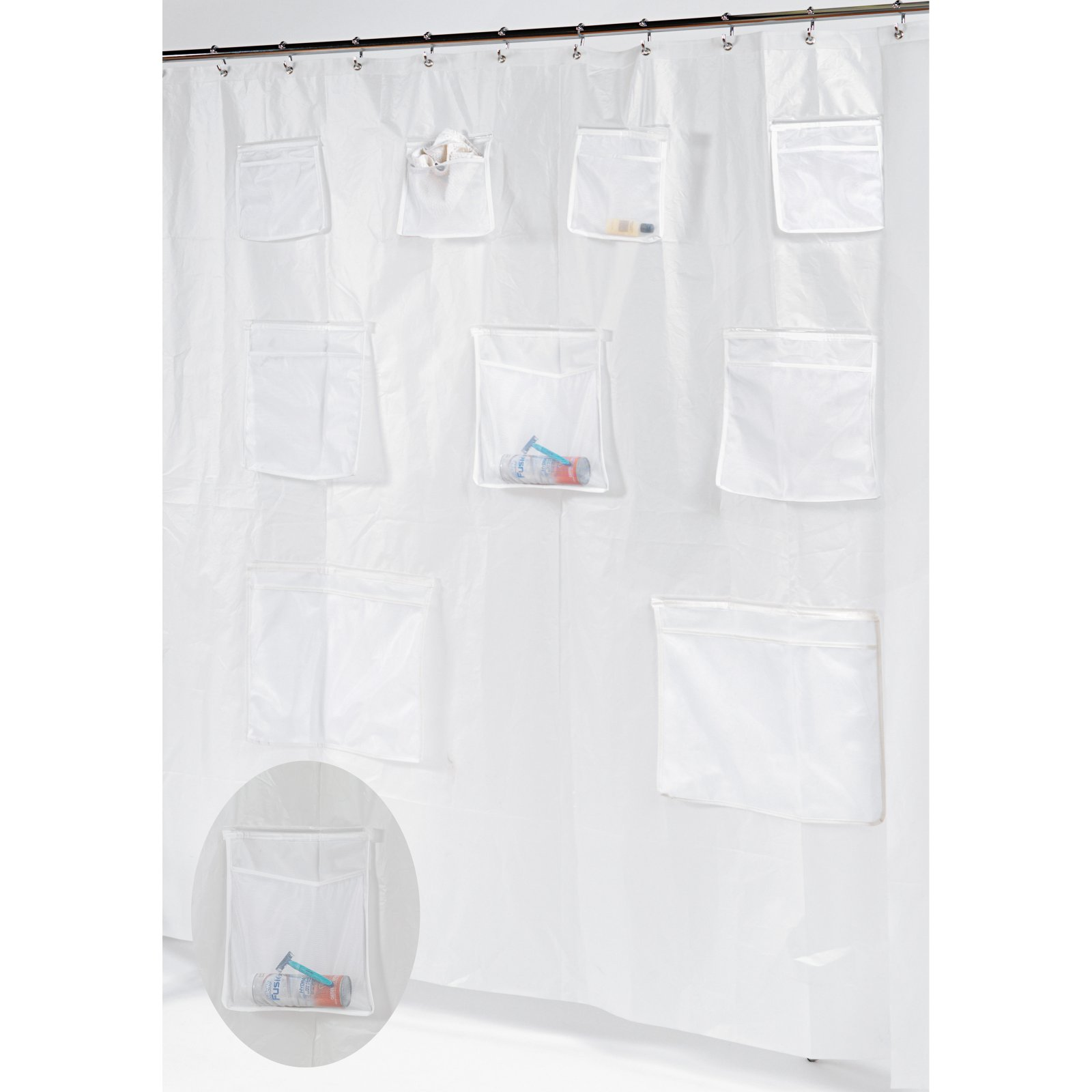 "Click here to buy ""Pockets"" PEVA Shower Curtain in Frosty Clear by Carnation Home Fashions."