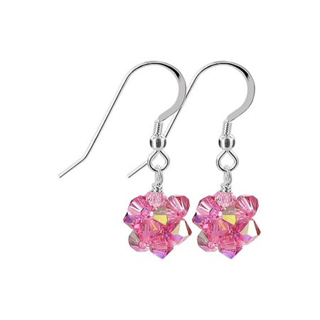 Silver Ball Drop - Gem Avenue Sterling Silver Made with Swarovski Elements 3mm Pink AB Ball Crystal Handmade Drop Earrings