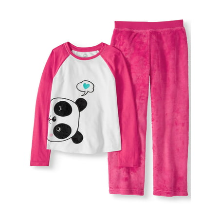 Wonder Nation Girls' 2 Piece Cozy Graphic Top And Loose Fit Pant Sleepwear Set