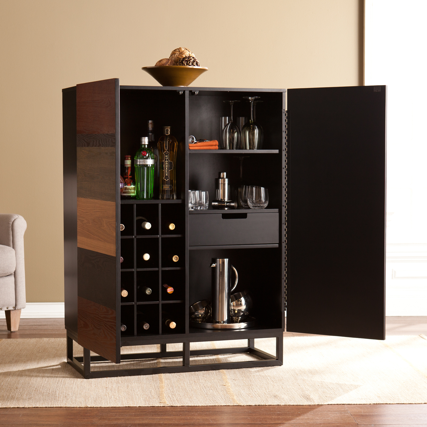 Southern Enterprises Kailey Bar Cabinet, Mid-Century, Multi-Tonal