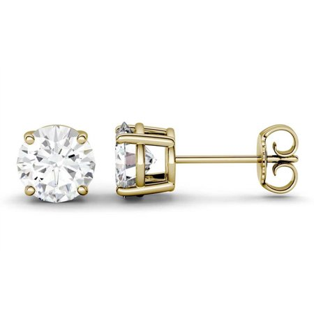 Solitaire 3 Carat Round Brilliant Moissanite Stud Earrings in 14k Yellow Gold - image 2 of 3