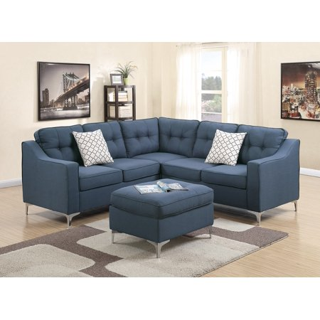 Modern Modular 4pcs L-shaped Sectional Sofa Casual Navy Tufted Polyfiber  LAF & RAF One Arm Love-seat Corner Wedge Ottoman Living Room