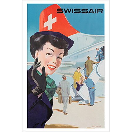 Swissair Airlines Vintage Travel Poster Retro Lady Collectors Unique 24X36