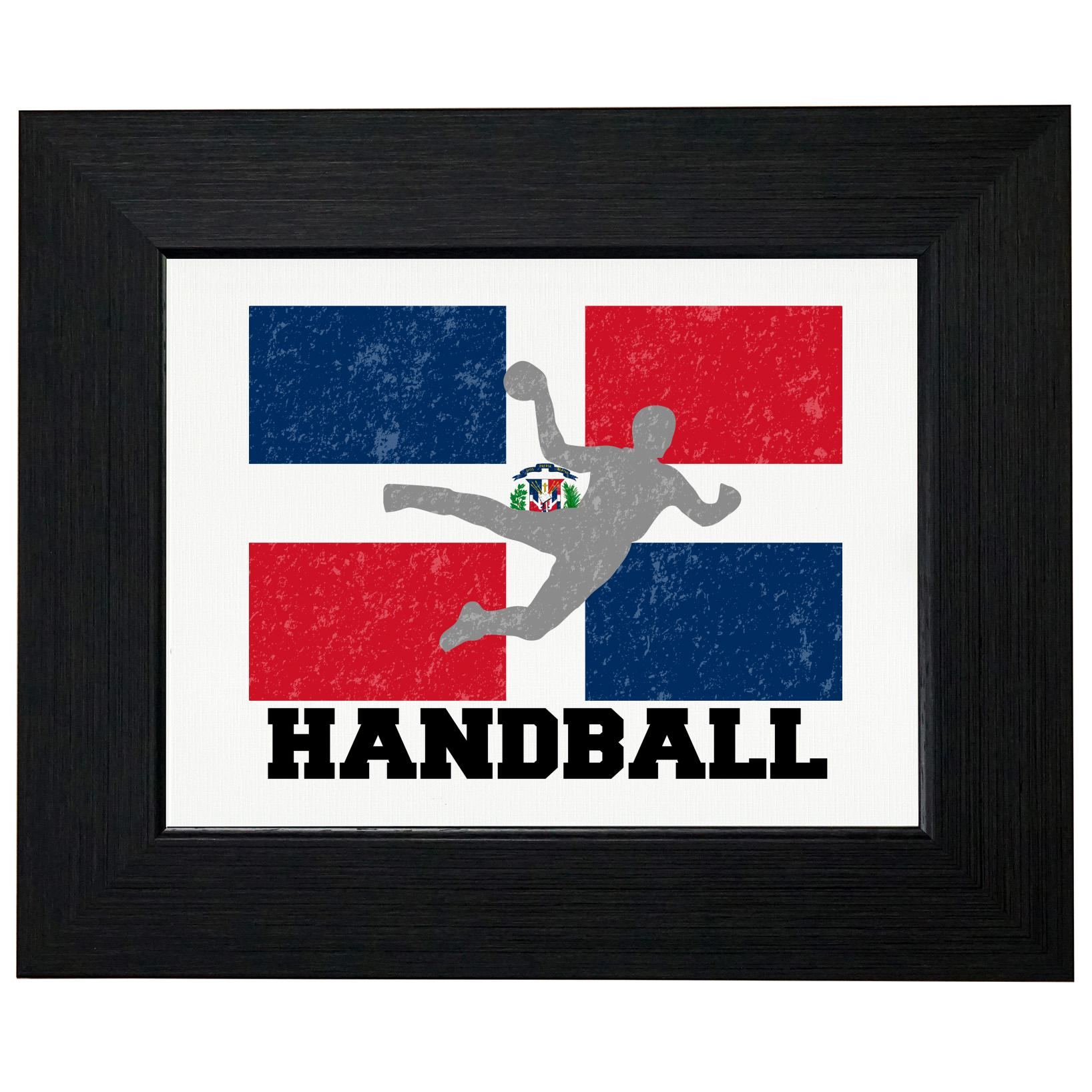 Dominican Republic Olympic Handball Flag Framed Print Poster Wall or Desk Mount Options by Royal Prints