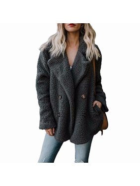 Product Image Akoyovwerve Women Winter Warm Wool Coat Lapel Double Breasted  Thick Fleece Pocket Outwear Parka 9c5cda4ae