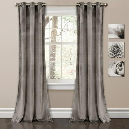 Prima Velvet Solid Room Darkening Window Curtain Gray Set 38X84