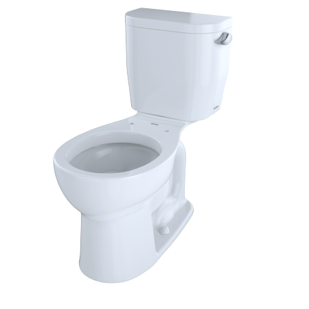 TOTO® Entrada™ Two-Piece Round 1.28 GPF Universal Height Toilet with Right-Hand Trip Lever, Cotton White -