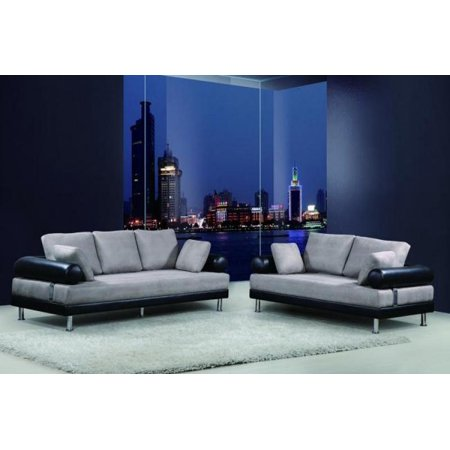 Terrific Maxwest P838 Modern Grey Black Genuine Leather Sofa And Loveseat Set 2 Pcs Unemploymentrelief Wooden Chair Designs For Living Room Unemploymentrelieforg