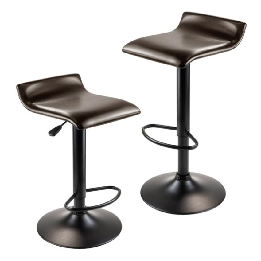 Set of 2 Airlift Adjustable Swivel Stool with PU Leather Seat,Black Metal Base