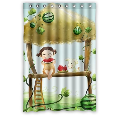 GreenDecor Kids Waterproof Shower Curtain Set with Hooks Bathroom Accessories Size 48x72 inches