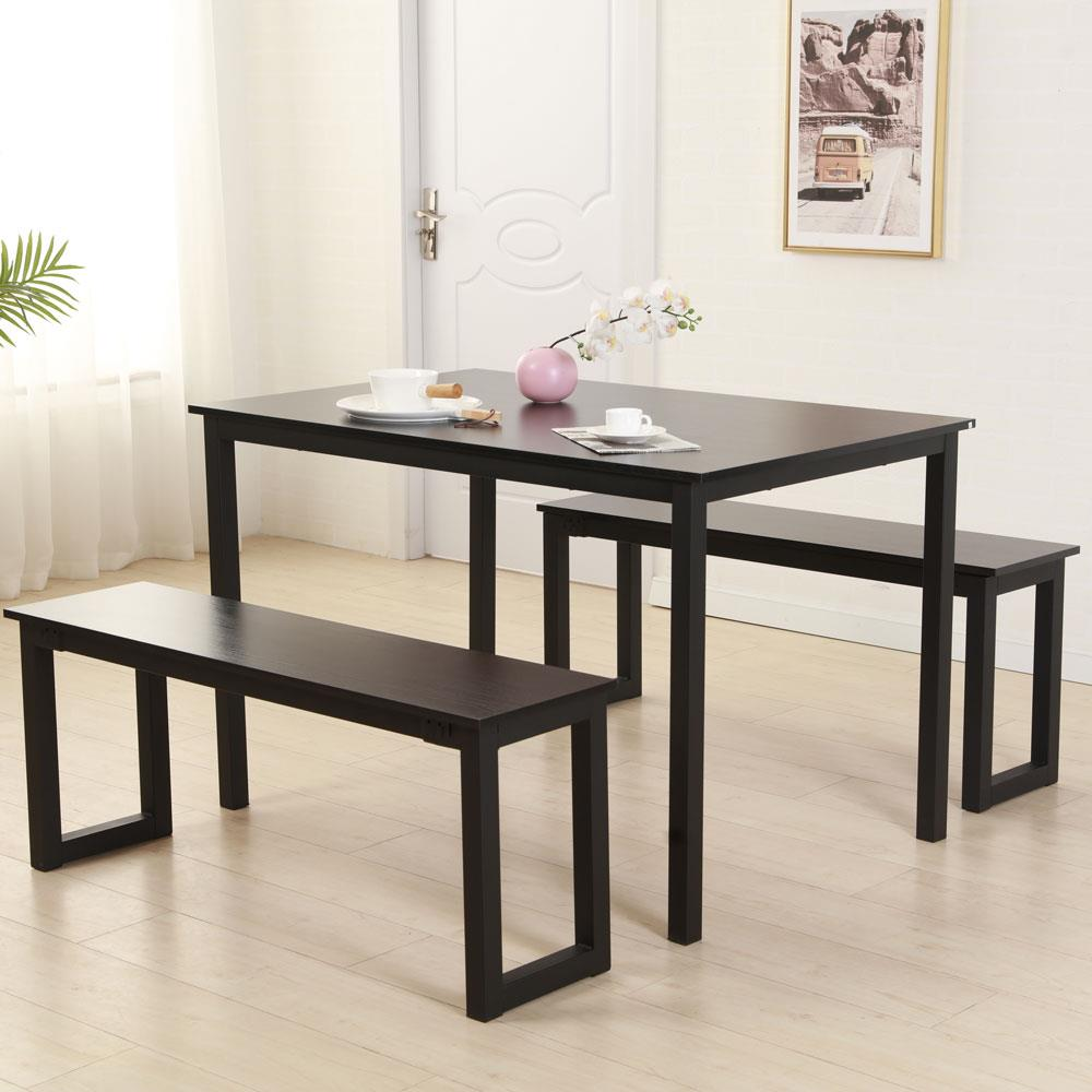 Ktaxon Iron Frame Modern Dining Table and Chairs 2pcs Benches Set Kitchen Room Furnitur