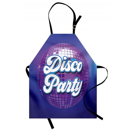 70s Party Apron Retro Lettering on Disco Ball Night Club Theme Dance and Music Art Print, Unisex Kitchen Bib Apron with Adjustable Neck for Cooking Baking Gardening, Purple Blue White, by Ambesonne (70s Theme Party Clothes)