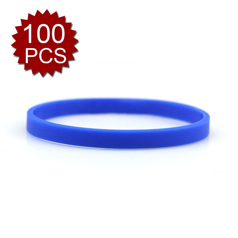 GOGO 100 Pcs Thin Silicone Wristbands, Rubber Bracelets, Party Favors-White