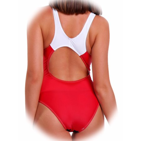 FITTOO Women Swimwear Halter Athletic Racerback Boyleg Sports One-Piece Monokini One Pack Red,S