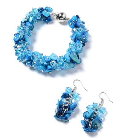 Beaded Shell Jewelry Set (Blue Shell Beads Stainless Steel Earrings Bracelet with Magnetic Clasp Jewelry Set for Women 8
