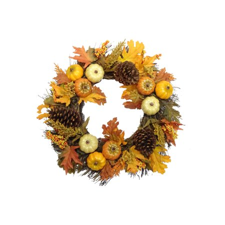 Harvest Wreath; Pumpkin and Pine Cone Accented Decoration