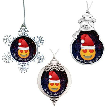 Emoji Heart Eyes Merry Christmas 2019 Ornament Gift ()